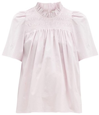 Sea Marlene Shirred-yoke Cotton-blend Poplin Top - Light Pink