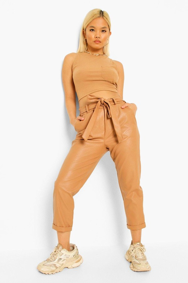 Thumbnail for your product : boohoo Petite Pu Faux Leather Belted Tapered Pants