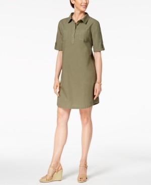 Karen Scott Petite Cotton Point-Collar Shift Dress, Created for Macy's