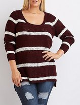 Charlotte Russe Plus Size Striped Scoop Neck Sweater