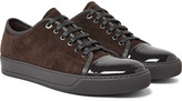 Lanvin - Cap-toe Suede And Patent-leather Sneakers