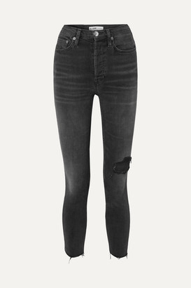RE/DONE Power Stretch High-rise Ankle Crop Distressed Skinny Jeans - Black