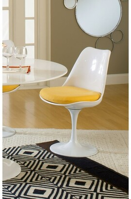 Bsd National Supplies Deland Tulip Style Swivel Dining Chair with Yellow Cushioned Seat