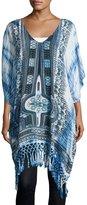 Band of Gypsies Tie-Dye Print Fringed Caftan, Ivory/Teal/Blue