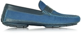 Moreschi Bahamas Blue Perforated Nubuck Driver Shoes w/Rubber Sole