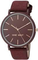 Nine West Women's NW/2066BYRG Faux Suede Strap Watch