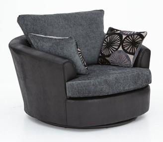 Marrakesh Fabric/Faux Snakeskin Swivel Chair