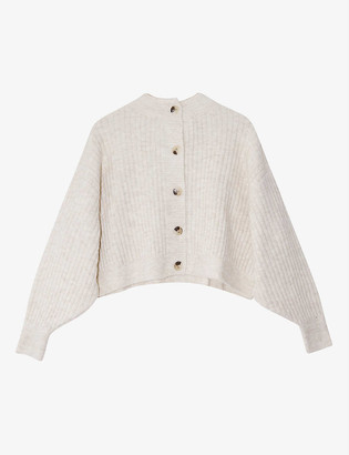 Topshop Ribbed-knit cropped cardigan