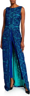 Kay Unger New York Solange Lace Overlay Sleeveless Jumpsuit