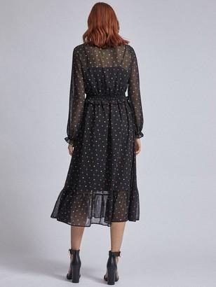 Dorothy Perkins Ditsy V Neck Long Sleeve Midi Dress - Black