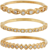 Accessorize 3x Detailed Sparkle Stacking Ring Set