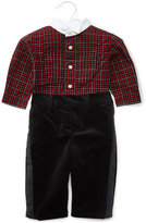 Ralph Lauren Plaid Tuxedo Shirt w/ Velour Pants, Red/Black, Size 9-24 Months