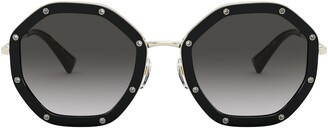 Valentino Rock Stud Glam 55mm Sunglasses