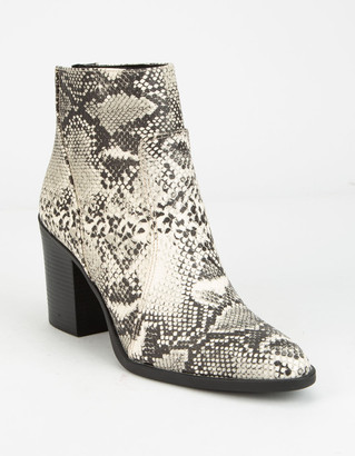 Qupid Block Heel Snake Womens Booties