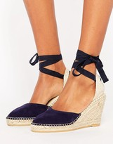 Park Lane Suede Tie Ankle Espadrille Wedge