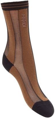 Fendi striped logo detail socks