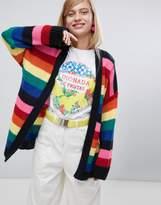 Asos DESIGN oversized cardigan in rainbow stripe