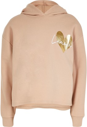 River Island Girls Nude 'L'Amour' print hoodie