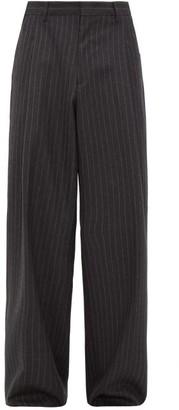 Gucci Wide Leg Chalk Striped Wool Twill Trousers - Mens - Dark Grey