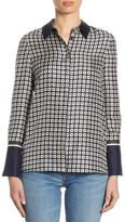 Tory Burch Marea Geometric Silk Button-Down Shirt