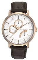 Pierre Cardin Pompe Men's Quartz Watch with White Dial Analogue Display and Brown Leather Strap PC107551F05