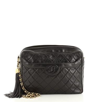 Chanel Vintage Camera Tassel Bag Quilted Leather Large
