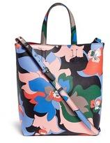 Emilio Pucci Floral print saffiano leather shopper tote