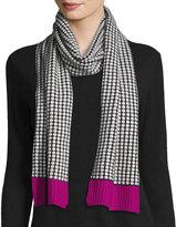 Neiman Marcus Cashmere Colorblock Scarf, Black/White/Fuchsia