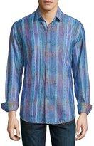 Robert Graham Cultivated-Print Long-Sleeve Sport Shirt, Blue
