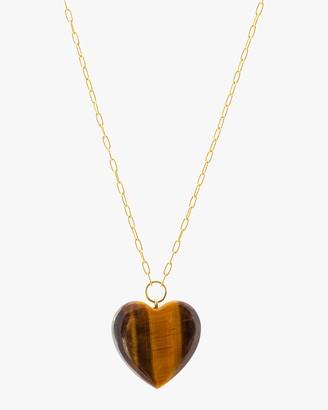Haute Victoire Tiger's Eye Heart Pendant Necklace