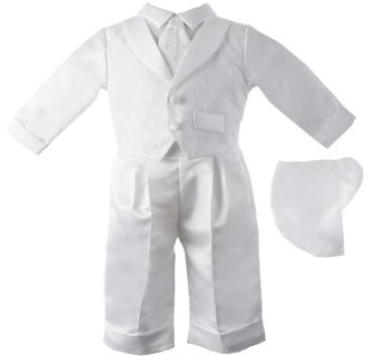 Little Angels Christening Baptism Baby Boy Cross Dobby Shawl Collar Pant Set with Matching Hat