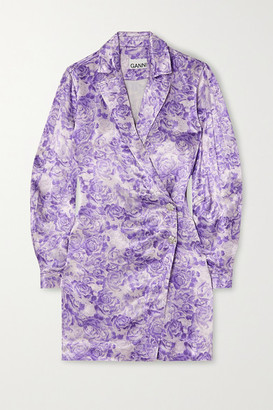Ganni Floral-print Satin Mini Wrap Dress - Violet