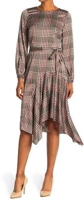 London Times Plaid Long Sleeve Asymmetrical Hem Dress
