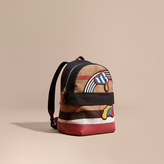 Burberry Appliquéd Weather Graphic Check and Leather Backpack