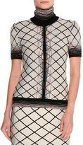 Missoni Short-Sleeve Check Jacquard Turtleneck Top, Beige/Black