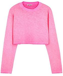 Cotton Citizen The Tokyo Crop LS In Hot Pink - M