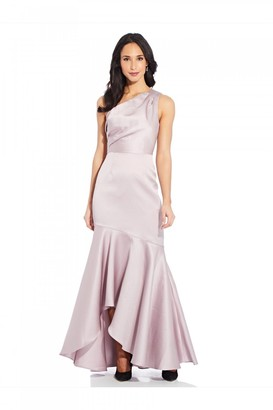 Adrianna Papell Mikado Long Gown In Marble
