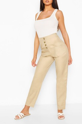 boohoo Stretch Cotton Button Front Skinny Pants