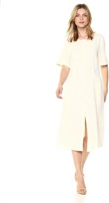 EVIDNT Women's Loose Lightweight Button Front Short Sleeve MIDI Dress