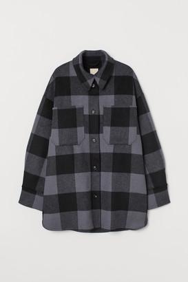 H&M Long wool-blend shirt jacket