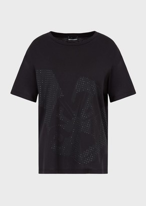 Emporio Armani Jersey T-Shirt With Oversized Eagle Print