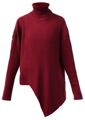 Marques Almeida Roll-neck Asymmetric Merino-wool Sweater - Burgundy