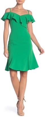 Marina Cold Shoulder Ruffle Trim Crepe Dress