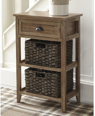 Signature Design by Ashley Oslember Light Brown Accent Table with 2 Baskets