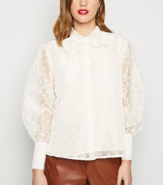 New Look Cameo Rose Spot Organza Tie Neck Blouse