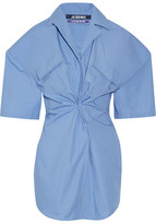 Jacquemus Gathered Cotton-poplin Mini Dress - Light blue
