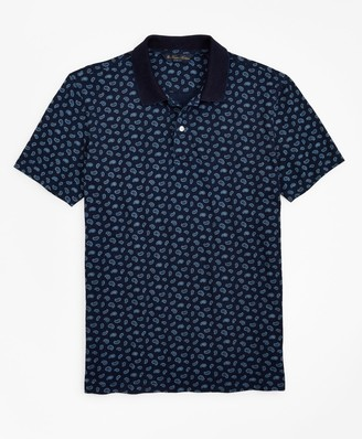 Brooks Brothers Slim Fit Indigo Printed Paisley Polo Shirt