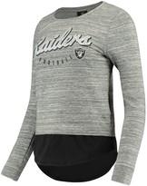Outerstuff Women's Juniors Heathered Gray/Black Oakland Raiders Shirt Tail Layered Long Sleeve T-Shirt