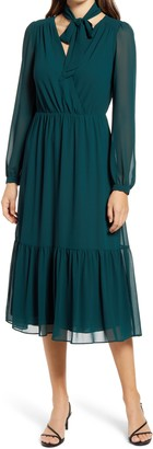 Ever New Tie Neck Long Sleeve A-Line Dress