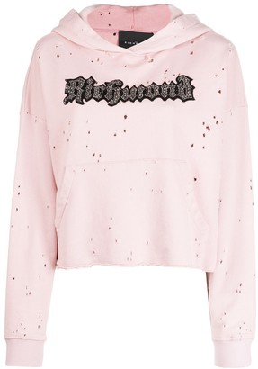 John Richmond Sequin Logo Embroidered Hoodie